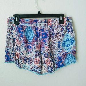 Flowy summer printed shorts w pockets & pom poms